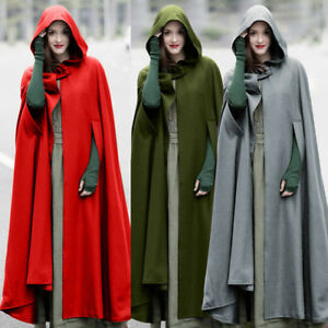 NEW-Women-Casual-Loose-Long-Cape-Cloak-Hooded-Coat-Outwear-Medieval-Robe-Costume