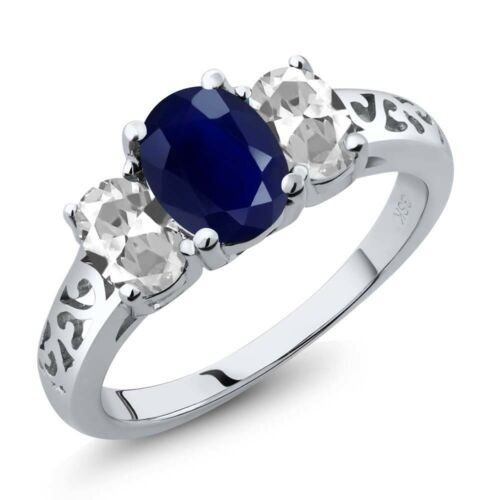 2.79 Ct Oval Blue Sapphire White Topaz 925 Sterling Silver Ring