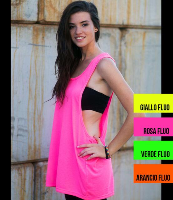 Canotta top fitness donna fluo dorso vogatore - disco palestra danza hip hop