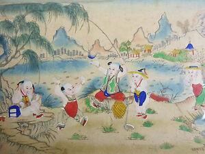 Enfants-Fishing-36-7-x-49-cm-Gouache-Original-China-Children-Fish-Fishermen