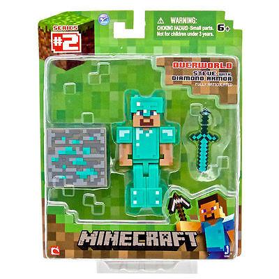 """Minecraft Overworld Steve Diamond Armor 3 """"figura-cassoni Nuovissimo In Scatola-mostra Il Titolo Originale"""