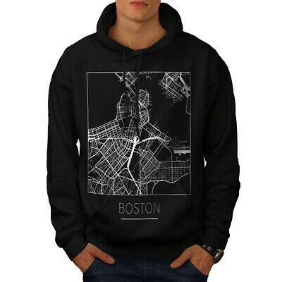 Wellcoda Boston City Map Fashion Mens Hoodie, Town Casual Hooded Sweatshirt 2019 New Fashion Style Online