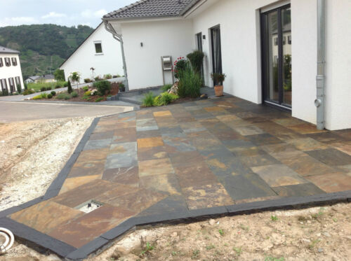 Terrassenplatten Buntschiefer Rusty Herbstlaubfarben Muster Naturstein