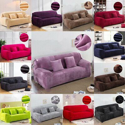Easy Fit Sofa Slipcover Stretch Protector Soft Couch Cover Thick Plush Velvet US