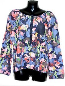 H-amp-M-Floral-Cotton-Silk-Summer-Blouse-Top-UK-8-EU-36