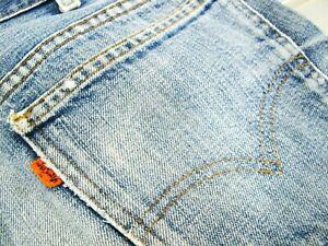 HOT-VTG-80s-Men-LEVI-039-S-684-8-FLARE-BELL-BOTTOM-ORANGE-TAB-Jeans-33x28-Fit-30x28