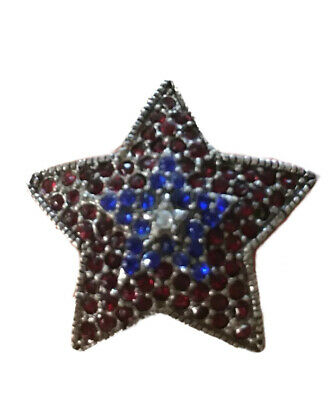 Vintage Enamel Brooch 1980/'s White and Blue Patriotic Red STAR Brooch