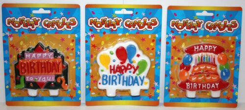 LOT OF 3 ASSORTED BIRTHDAY CANDLES PARTY CAKE BRIGHT COLORS