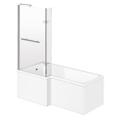 Left L Shape Shower Bath Acrylic Bathtub Screen + Panel Bathroom Set 1700mm