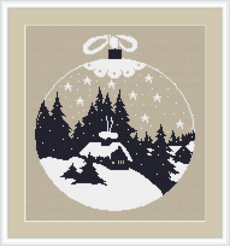 Stickvorlagen zum Auswahl Weihnachtskugel 2 Kreuzstichmuster farbig sticken