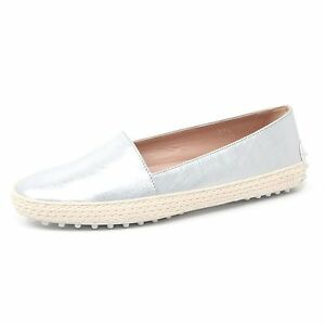 B4412-mocassino-donna-TOD-039-S-scarpa-pantofola-argento-loafer-shoe-woman