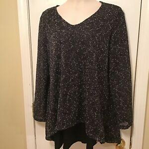 Jess-amp-Jane-Size-XL-Overlay-Black-White-Zipper-Accented-Tunic-Top-Blouse-USA