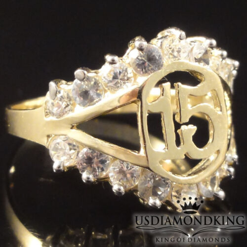LADIES GIRLS 10K REAL 100/% YELLOW GOLD 15 BIRTHDAY QUINCEANERA RING BAND SIZE 8