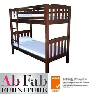 Bunk Beds Adelaide King Single Timber Bunk Bed Only In Walnut Ebay