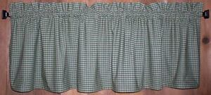 Details about Green and Tan Check Homespun Valances Tiers Primitive Country  Curtains Kitchen