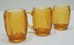 Set-Of-3-Vintage-Amber-Glass-Root-Beer-Mugs-Barrels-Mini-Bar-Shot-Glasses