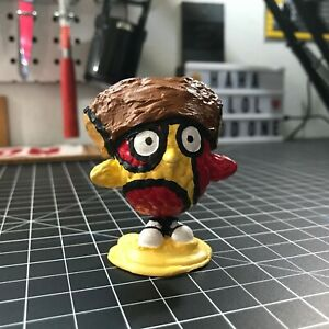 """P the Pizza, custom artwork, paint on a plastic toy, 2""""x2.5"""""""