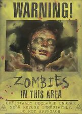 "Halloween ZOMBIE Poster Sign 11"" x 15"" Warning In Area! Wall Hanging Decor NEW"