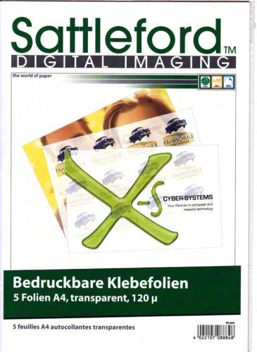 5 Blatt Klebefolie A4 transparent Inkjet  Klebefolien NEU