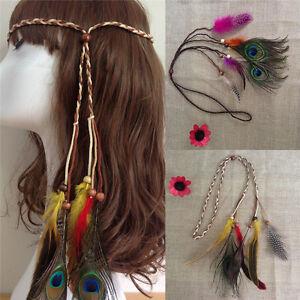 Image Is Loading Bohemian Pea Feather Braided Headband Hair Head Band
