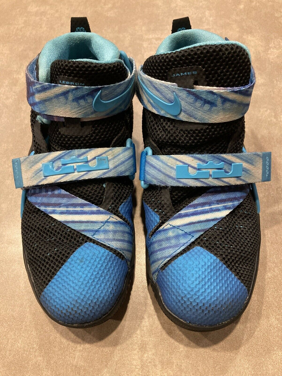 NIKE~Lebron James~Soldier XC, Black and Blue Basketball Shoes, Toddler Size 13 on eBay thumbnail