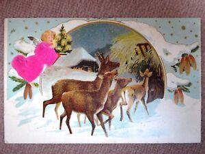 TOP-Praege-Ak-Weihnachten-Engel-m-Seiden-Kleid-Christbaum-Rehe-Tannenzapfen-1903