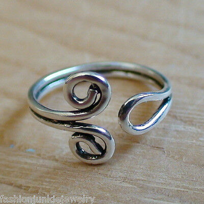 Spiral Toe Ring - 925 Sterling Silver - Adjustable Summer Toe Ring Jewelry NEW