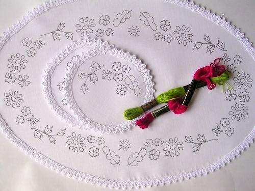 Imprimé coiffeuse Chewal Set à main broder fleurs coton CS0028