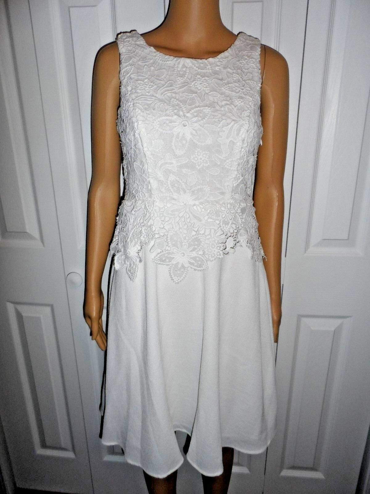 Stunning bluesh black size 4 white with lace fit flare dress ladies women NWT