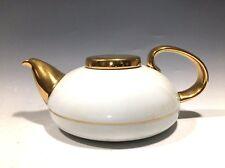 Unique! Mlesna Porcelain Teapot White/Gold Trim Made in Sri Lanka