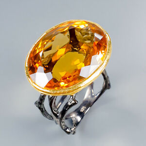 Vintage30ct-Natural-Cognac-Quartz-925-Sterling-Silver-Ring-Size-9-R101204