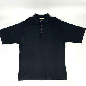 Tommy-Bahama-Silk-Blend-Polo-Shirt-Men-039-s-Size-XL-Black-Short-Sleeve-Collared-Tee