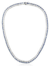 NWT CZ by Kenneth Jay Lane Rhodium Plated Blue Clear Deco Collar Necklace