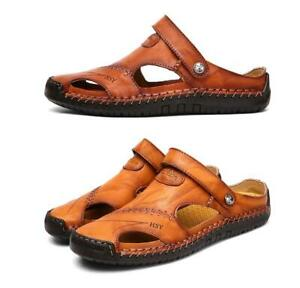 Men's Shoes Size 5-12 PU Leather Men's Slippers Casual Beach Sandals Shoes Pull On Beach Men's Sandals