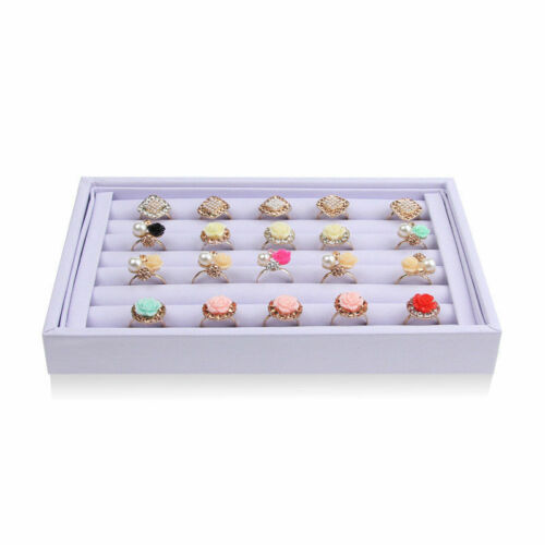 Velvet Jewelry Earring Ring Display Organizer Box Tray Holder Storage Showcase