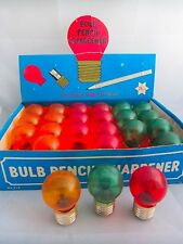 24 Vintage Light Bulb Pencil Sharpeners In Shop Display Box Retro Design Old Toy