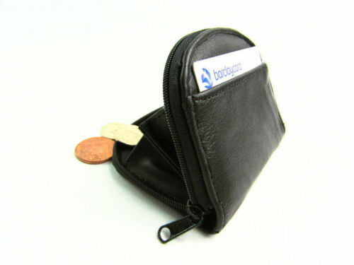 New Mens Ladies Quality Small Real Leather Coin Purse Pouch Wallet Zip Around