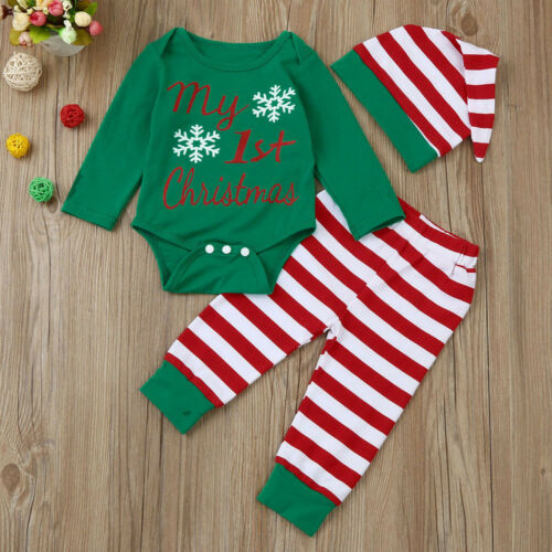 3Pcs Newborn Baby Boy Girl Christmas Tops Shirt Romper+Pants+Hat Cap Outfits Set