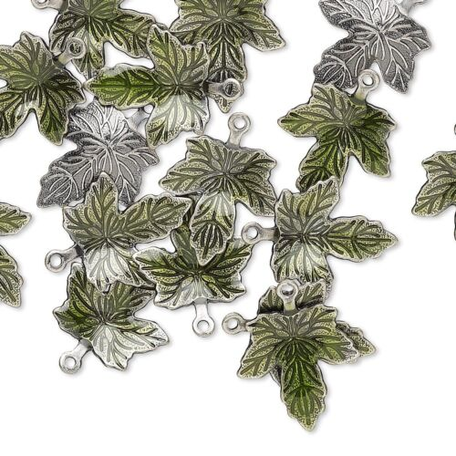 100 Antiqued Silver Plated Brass /& Green Enamel 13x12mm Maple Leaf Charms