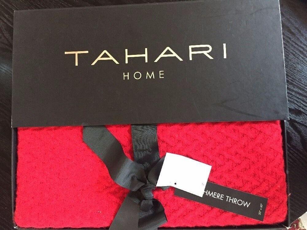 Nuevo En Caja Tahari Hogar 100% Cachemir Manta Rojo patrón de 50 X 60