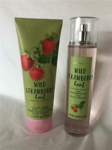 Bath-amp-Body-Works-Wild-Strawberry-Leaf-Body-Mist-amp-Ultra-Shea-Body-Cream-NEW