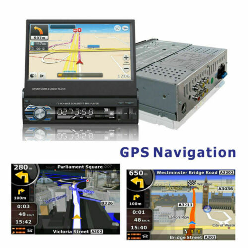 "7/"" AUTORADIO 1DIN MIT GPS NAVIGATION NAVI BLUETOOTH TOUCH SCREEN USB SD MP3 MAP"