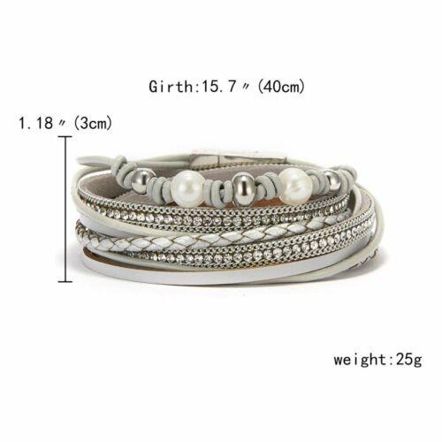 Fashion en cuir fermoir magnétique Cuff Bracelet Bracelet Femmes Hommes Bijoux Bangle