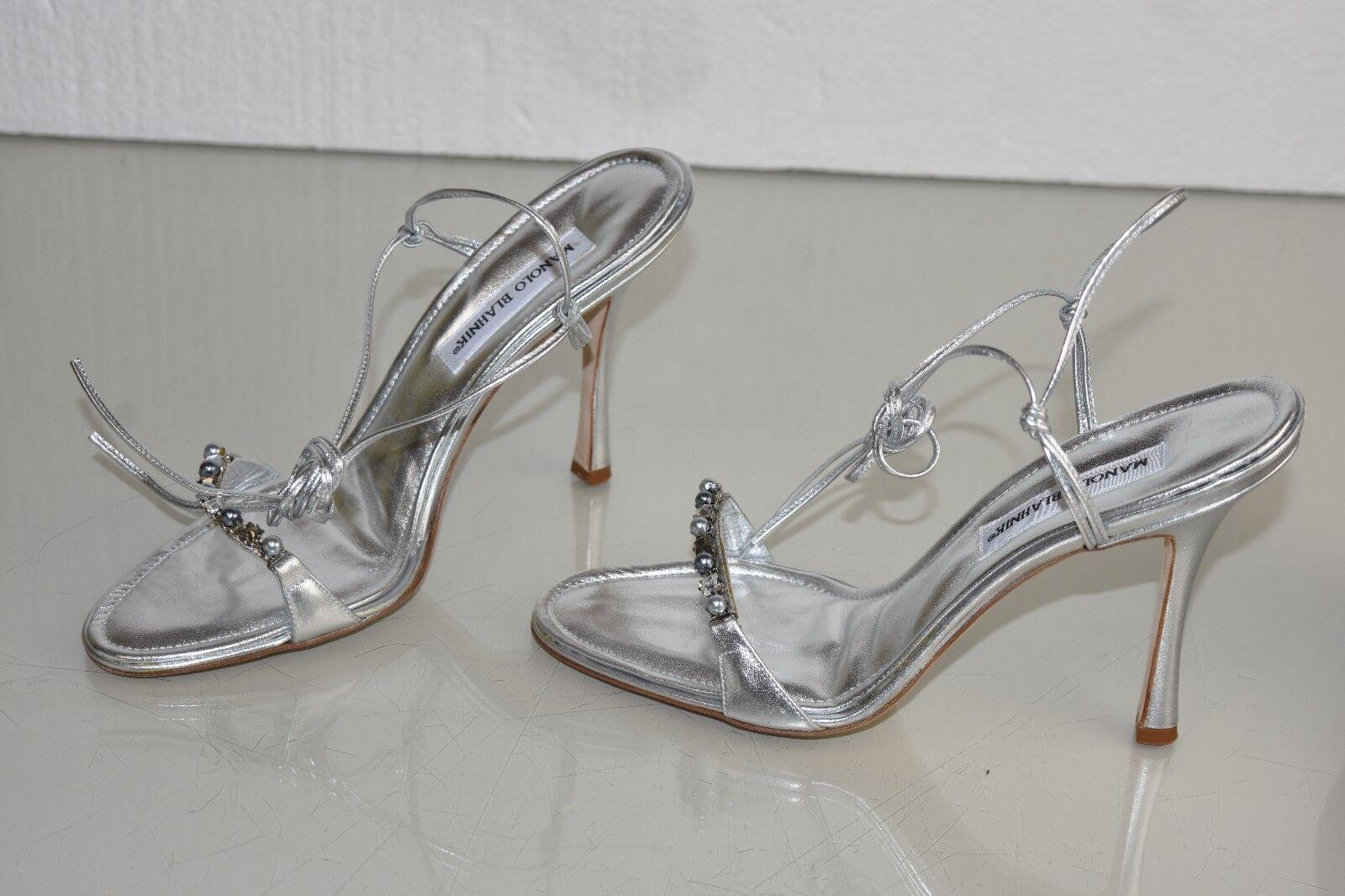 1595 NEW Manolo Blahnik BAIXA Sandals Silver CRYSTALS PEARLS Wedding shoes 40.5