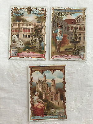 (3) 1898 Liebig Royal Castle Of Bavaria Victorian Trade Cards Activating Blood Circulation And Strengthening Sinews And Bones