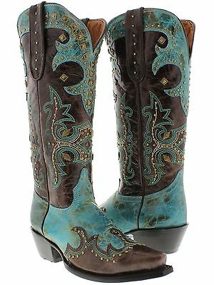 womens brown turquoise tall studded western leather cowboy cowgirl boots rodeo