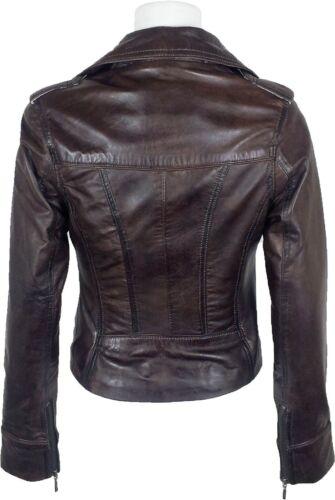 """Licorne femme marron ciré fashion 100/% vrai veste en cuir /""""toutes tailles #Z7"""