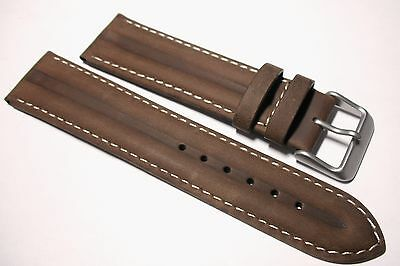 Brown leather double ridged watch strap, superb detail and quality