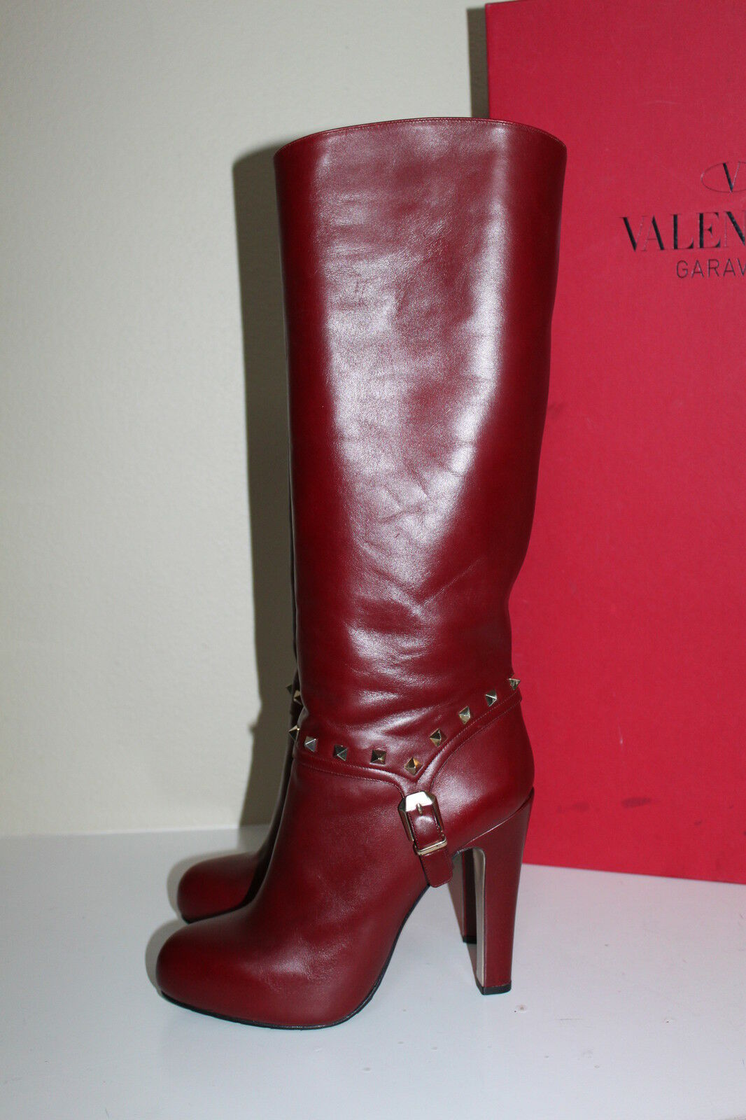 New Studded  9.5 / 39.5 Valentino Rockstud Studded New ROT Leder Platform Tall  Boot Schuhes beb6b0