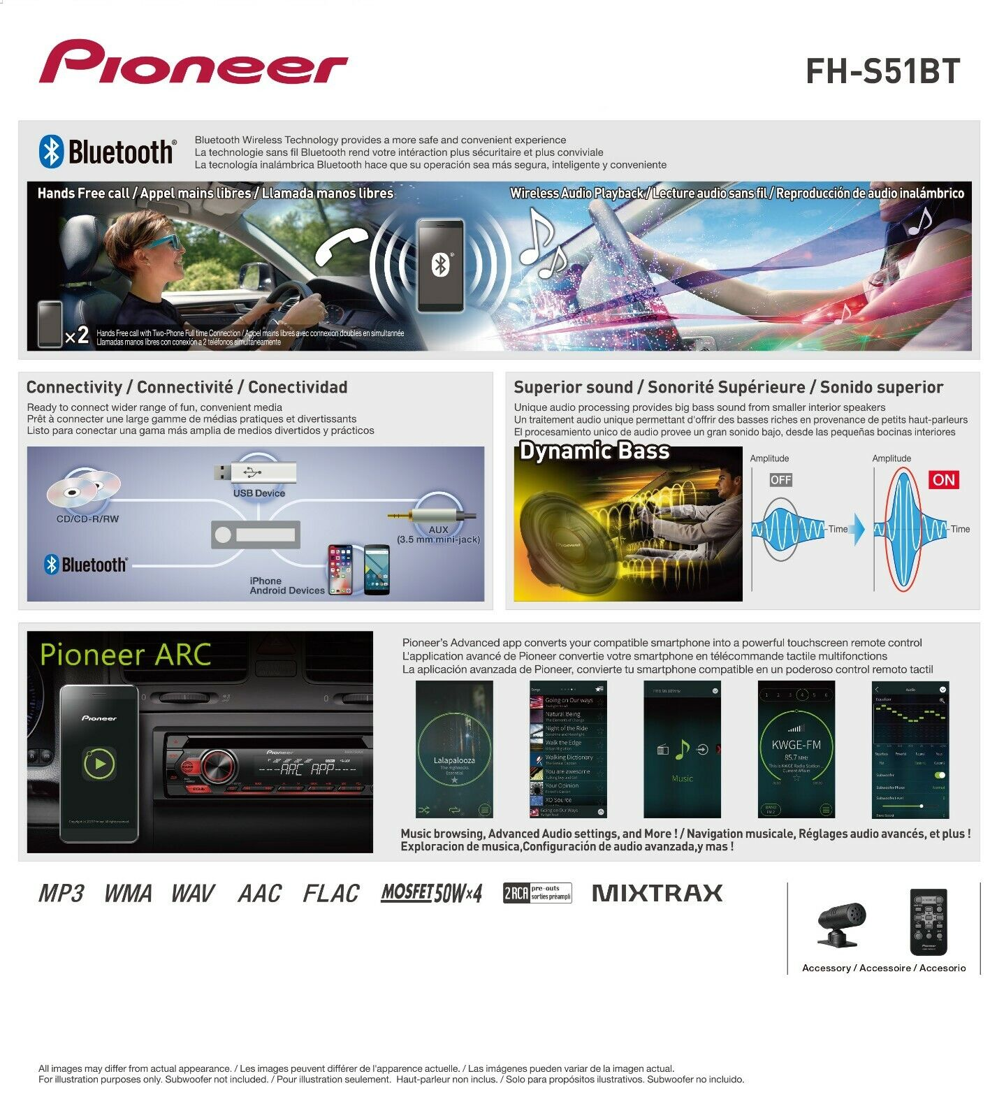 Pioneer Fh S51bt 2 Din Bluetooth Cd Receiver For Sale Online Ebay